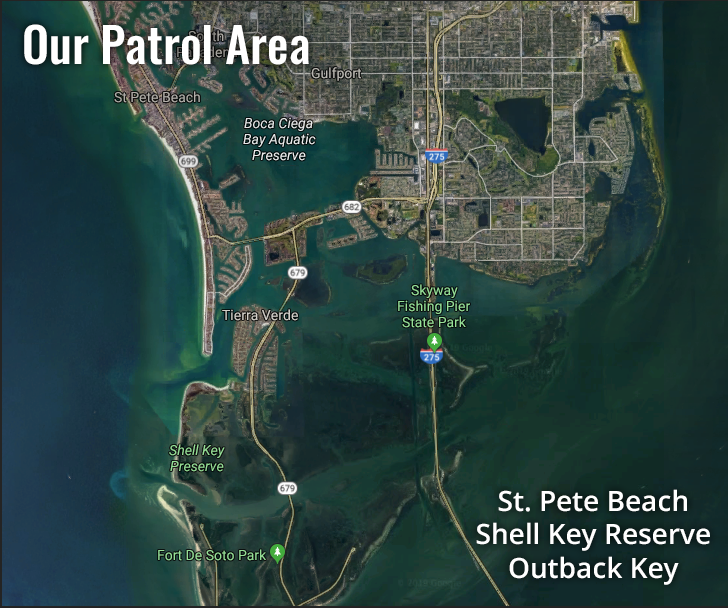 This is a map of our patrol area in St. Pete Beach, Shell Key Reserve and Outback Key.